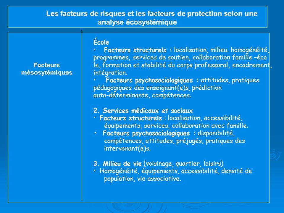 Les facteurs de risques et les facteurs de protection selon une