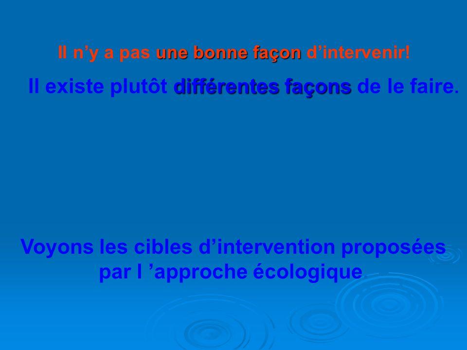 Voyons les cibles d'intervention proposées par l 'approche écologique.