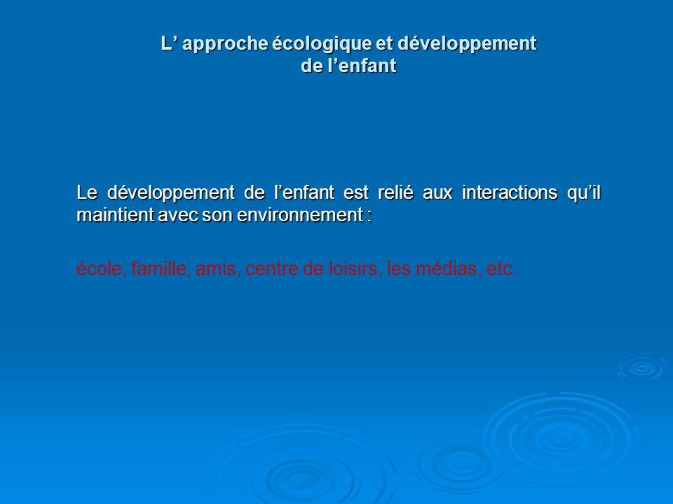 L' approche écologique et développement de l'enfant
