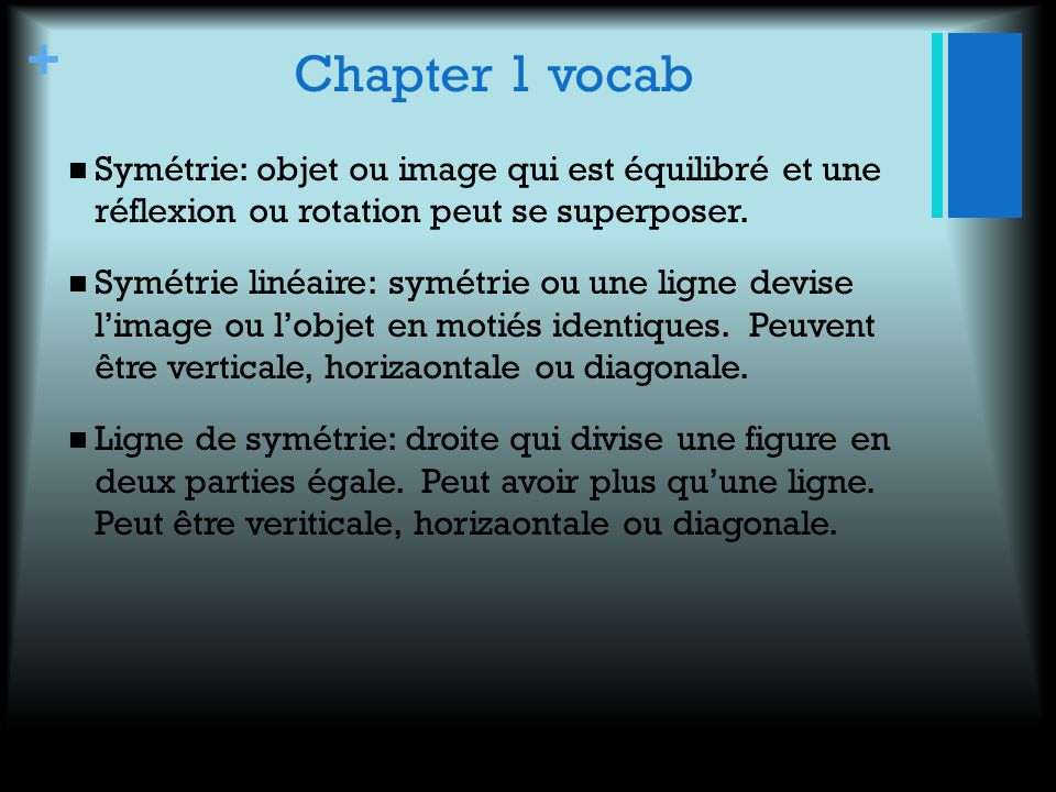 Chapter 1 vocab Symétrie: objet ou image qui est équilibré et une réflexion ou rotation peut se superposer.