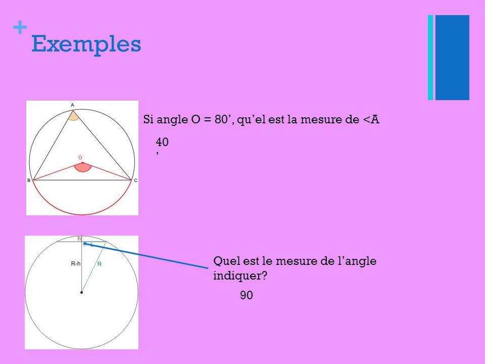 Exemples Si angle O = 80', qu'el est la mesure de <A 40'