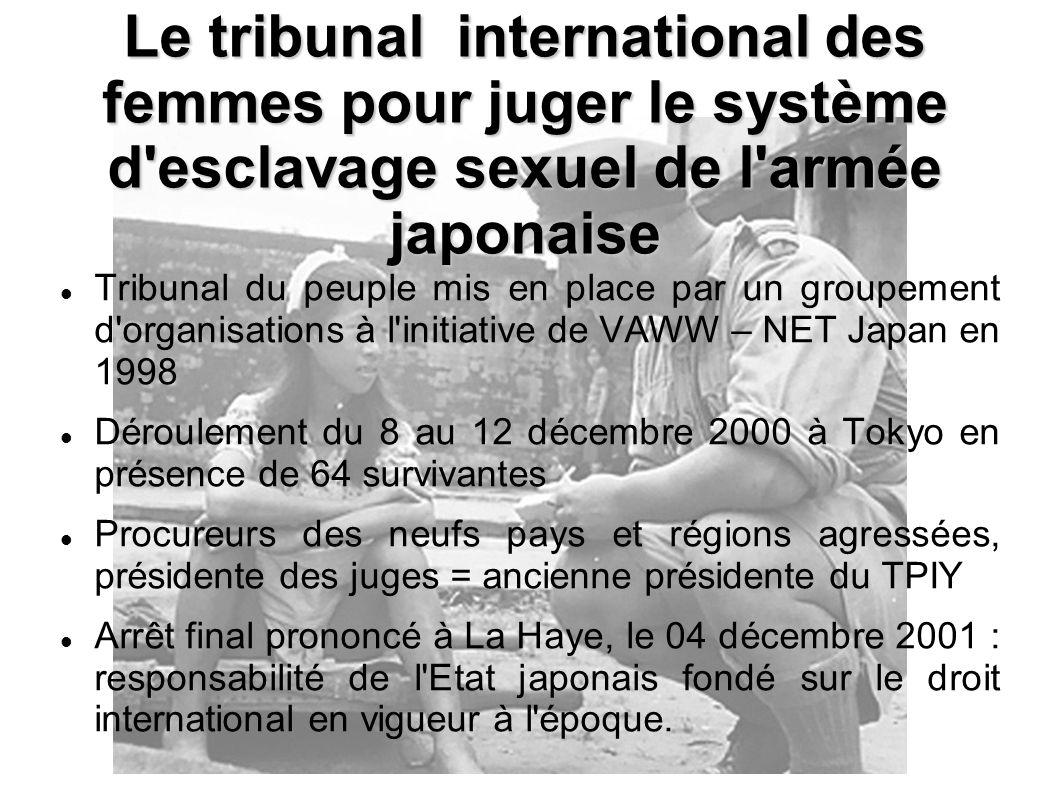 Le tribunal international des femmes pour juger le système d esclavage sexuel de l armée japonaise