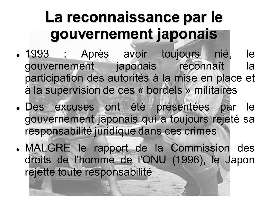 La reconnaissance par le gouvernement japonais
