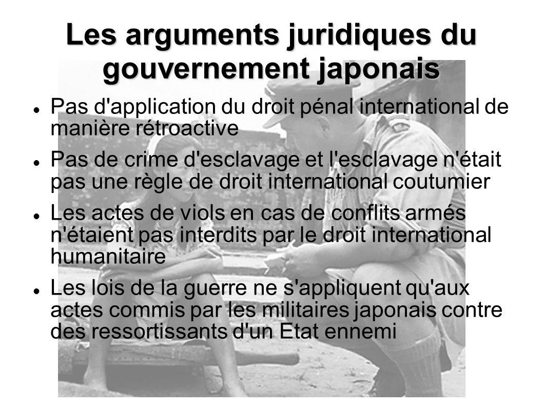Les arguments juridiques du gouvernement japonais