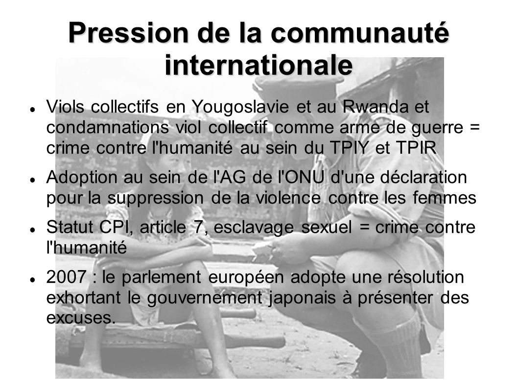 Pression de la communauté internationale