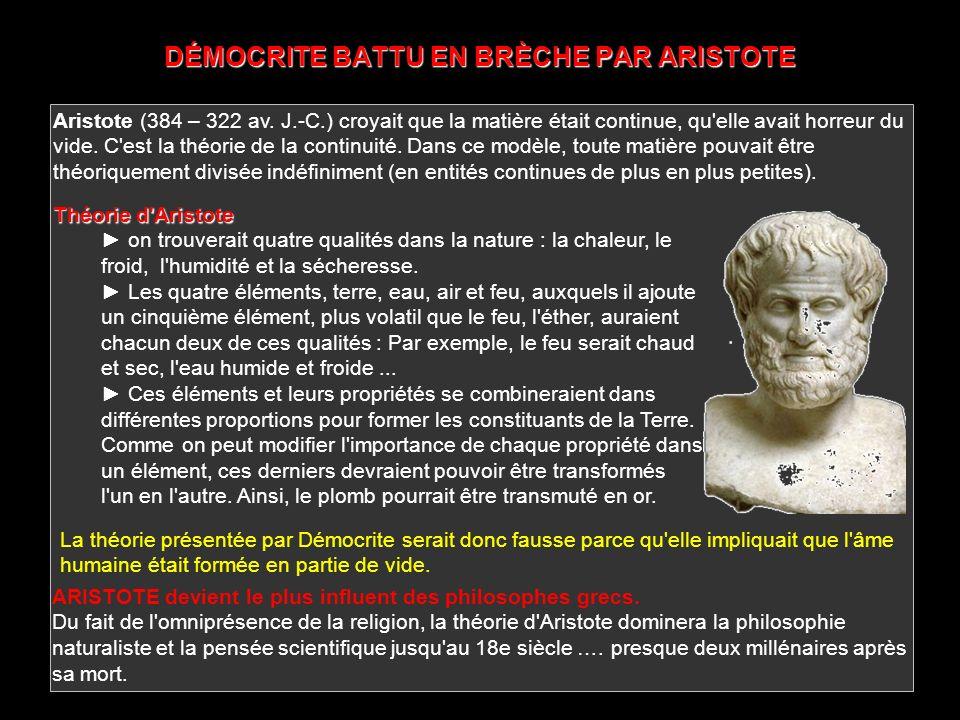 DÉMOCRITE BATTU EN BRÈCHE PAR ARISTOTE
