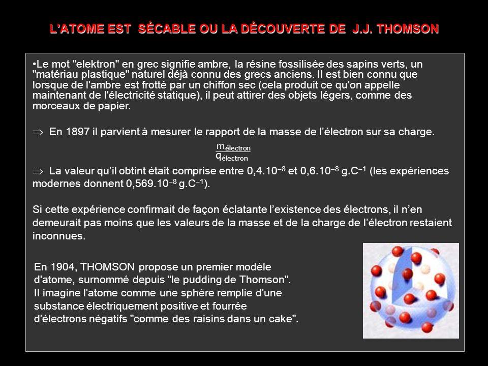 L ATOME EST SÉCABLE OU LA DÉCOUVERTE DE J.J. THOMSON
