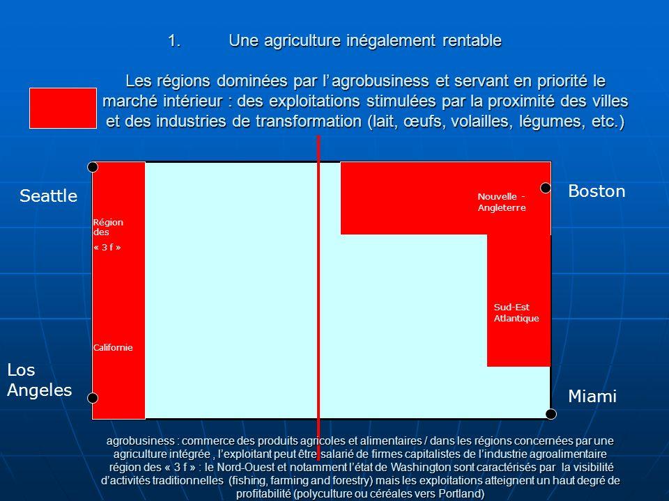 Une agriculture inégalement rentable Les régions dominées par l'