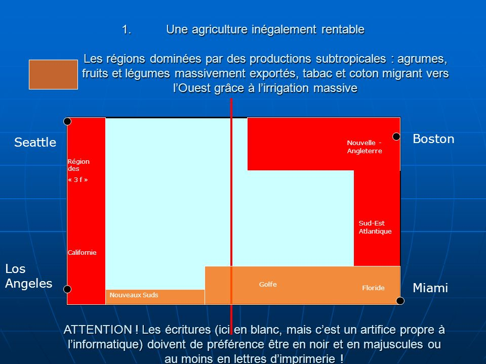 Une agriculture inégalement rentable Les régions dominées par des productions subtropicales : agrumes, fruits et légumes massivement exportés, tabac et coton migrant vers l'Ouest grâce à l'irrigation massive