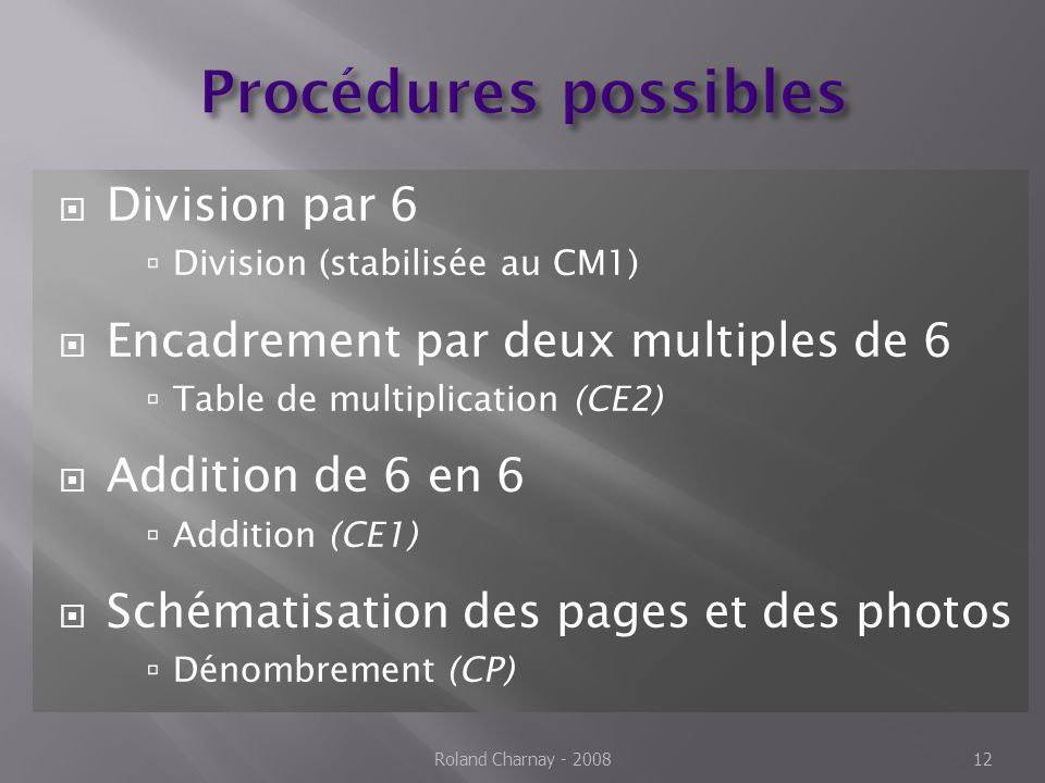 Procédures possibles Division par 6