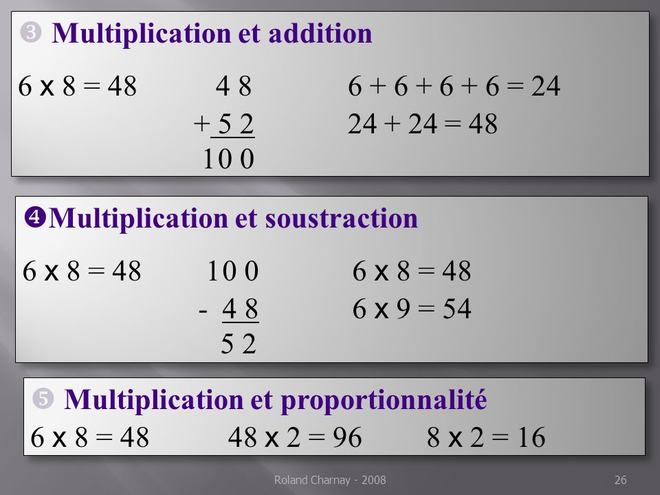 Multiplication et addition 6 x 8 = 48 4 8 6 + 6 + 6 + 6 = 24