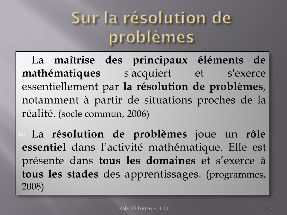 Sur la résolution de problèmes