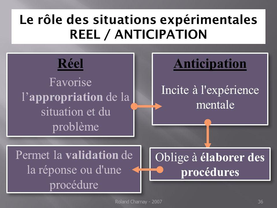 Le rôle des situations expérimentales REEL / ANTICIPATION