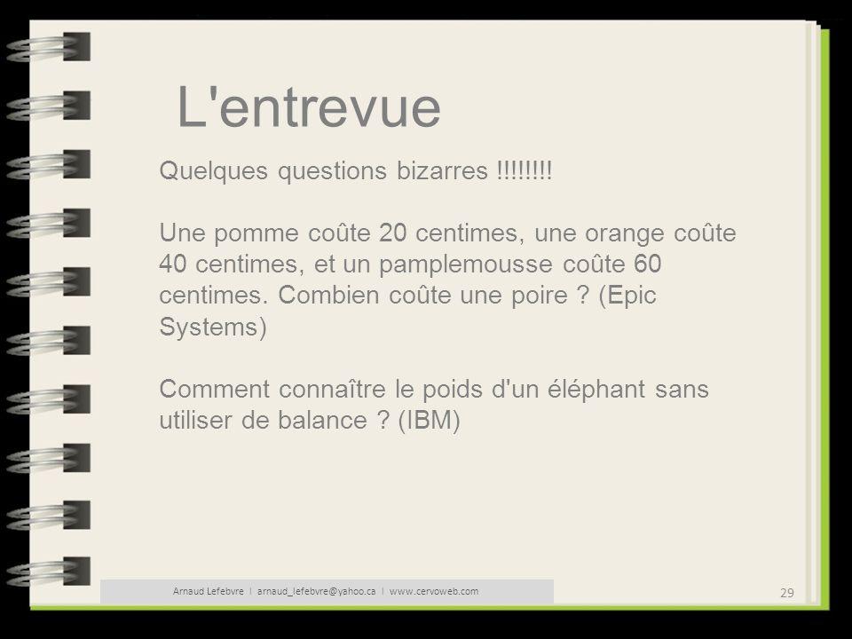 Arnaud Lefebvre l arnaud_lefebvre@yahoo.ca l www.cervoweb.com
