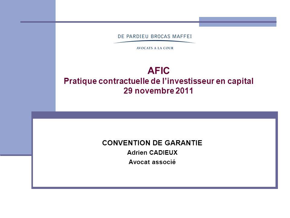 CONVENTION DE GARANTIE Adrien CADIEUX Avocat associé