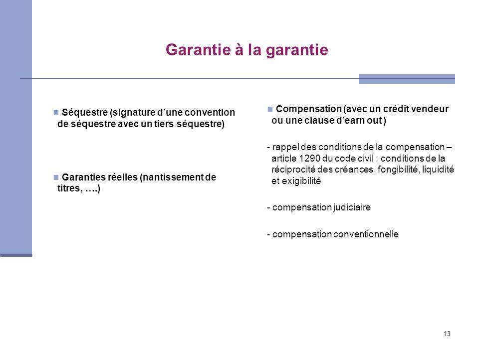 Garantie à la garantie Compensation (avec un crédit vendeur ou une clause d'earn out )