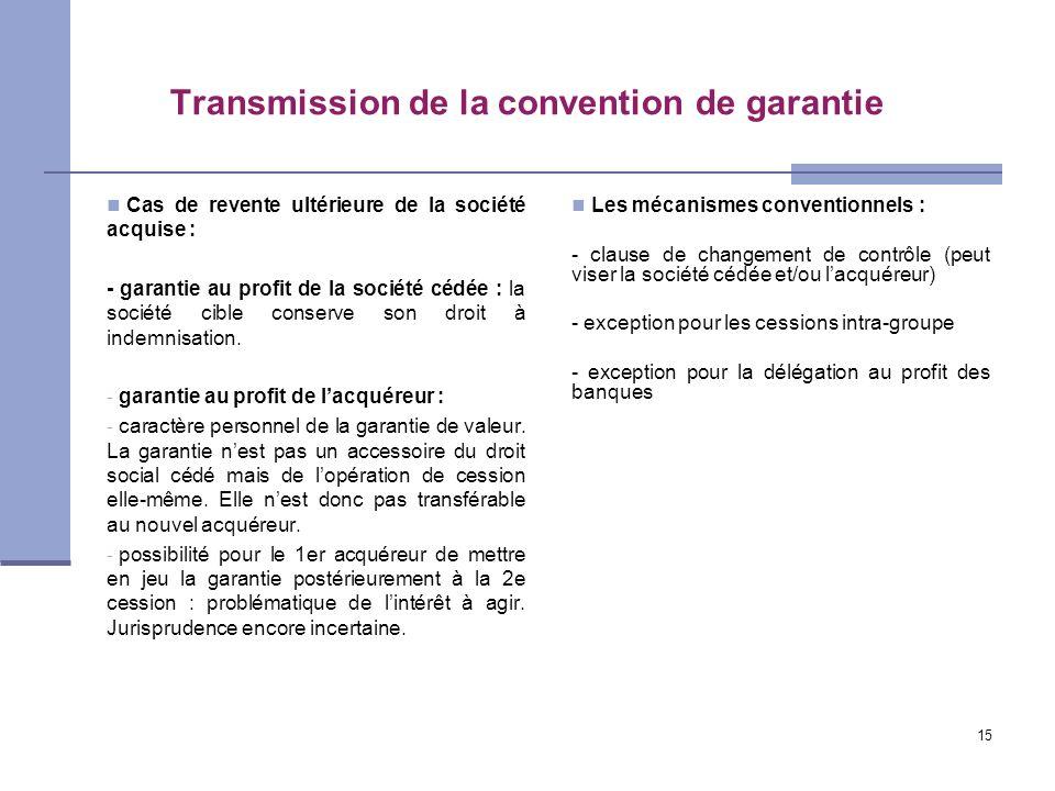 Transmission de la convention de garantie