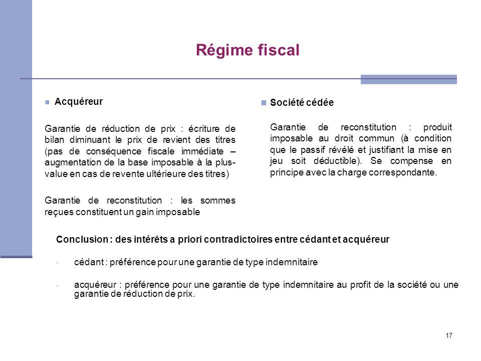 Régime fiscal Société cédée
