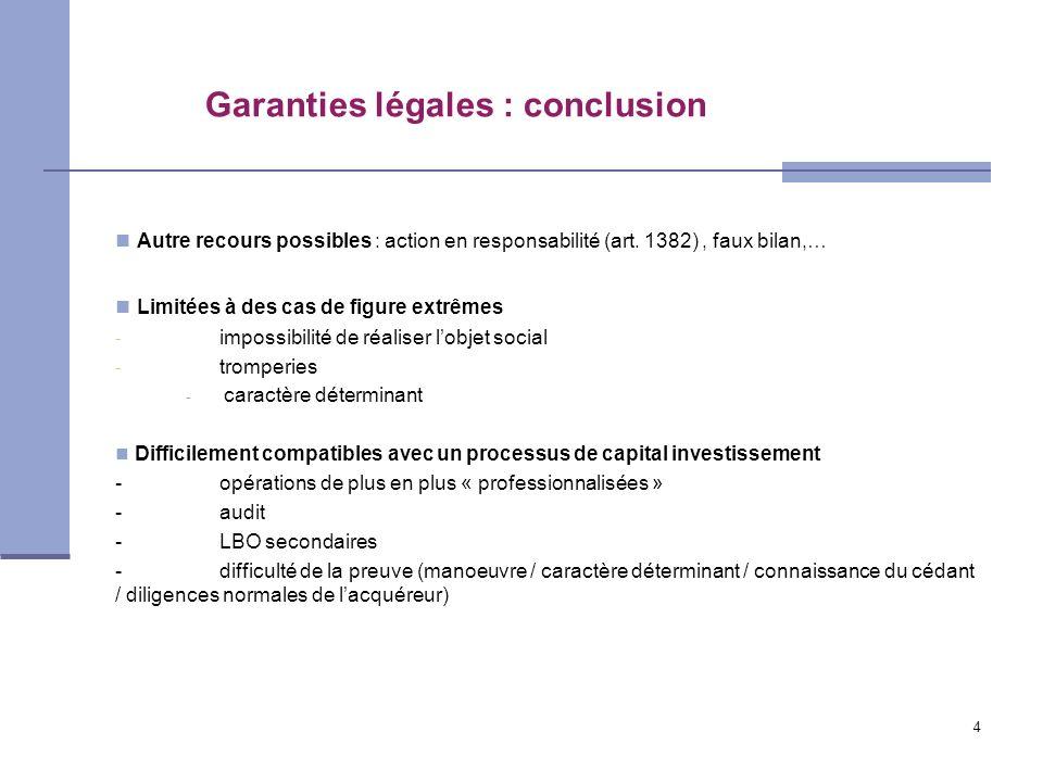 Garanties légales : conclusion