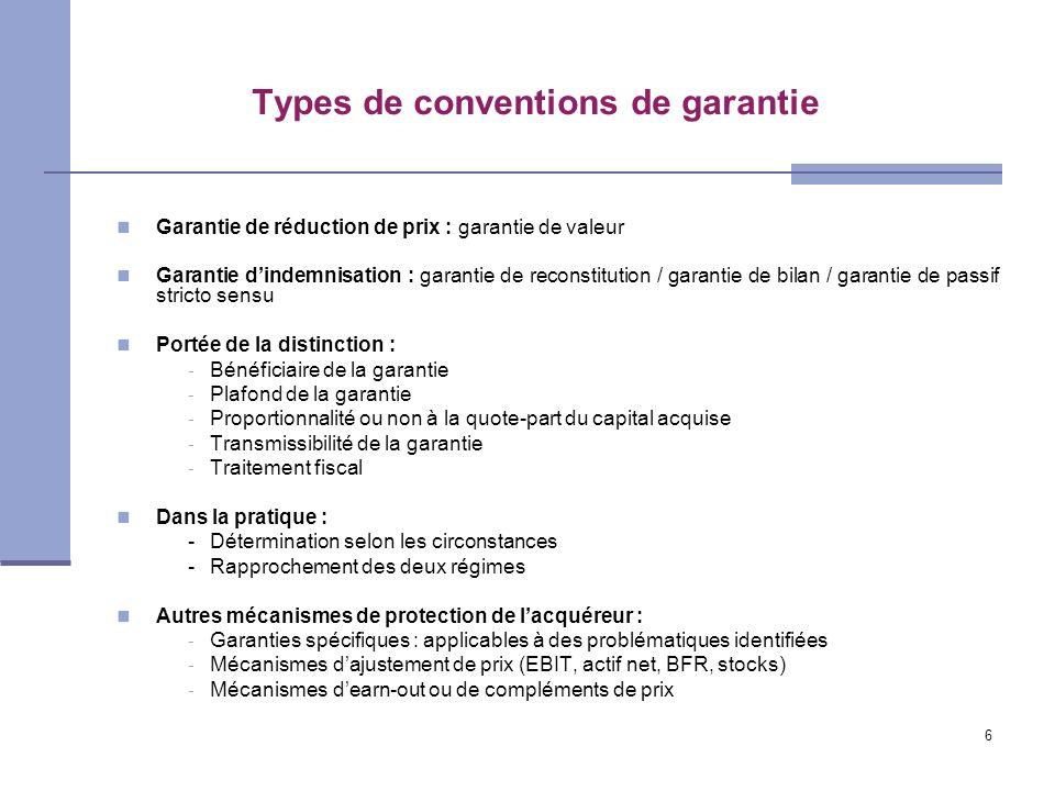 Types de conventions de garantie
