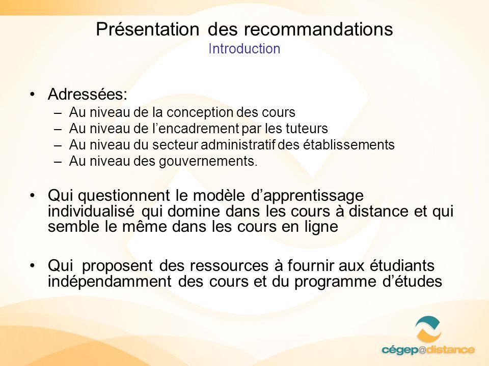 Présentation des recommandations Introduction