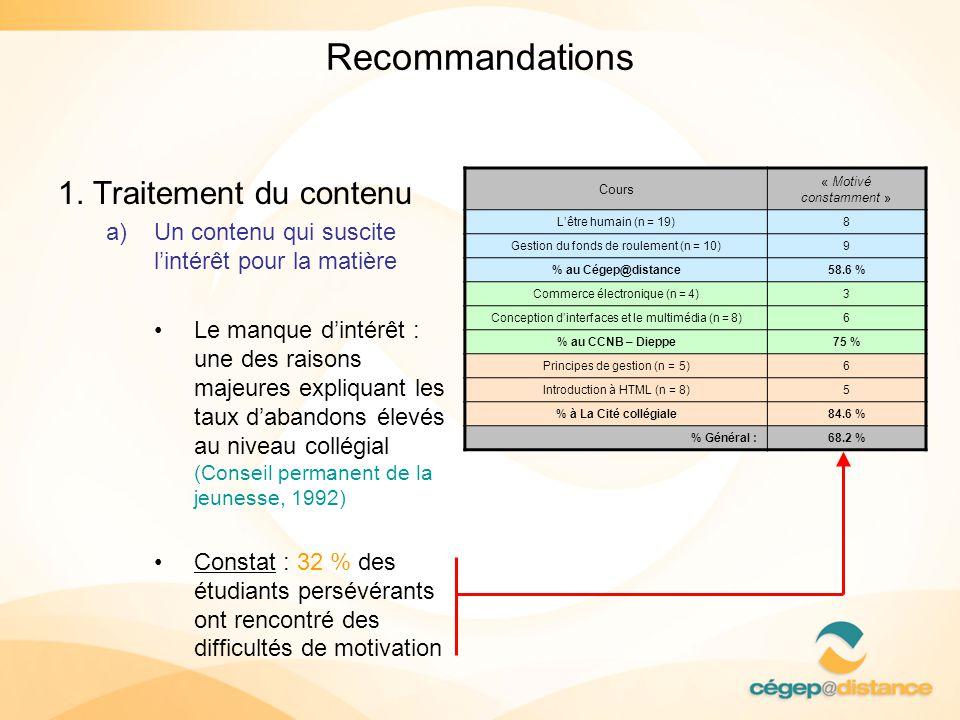 Recommandations 1. Traitement du contenu
