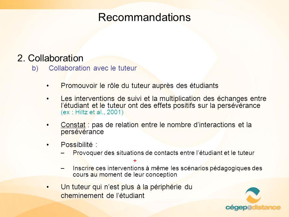 Recommandations 2. Collaboration Collaboration avec le tuteur