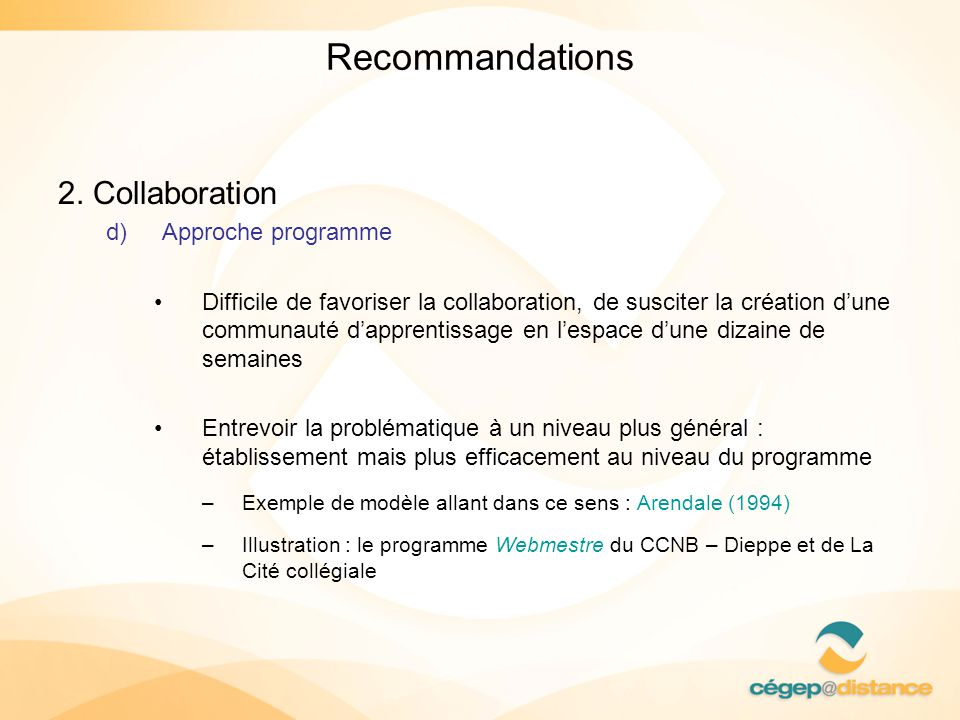 Recommandations 2. Collaboration Approche programme
