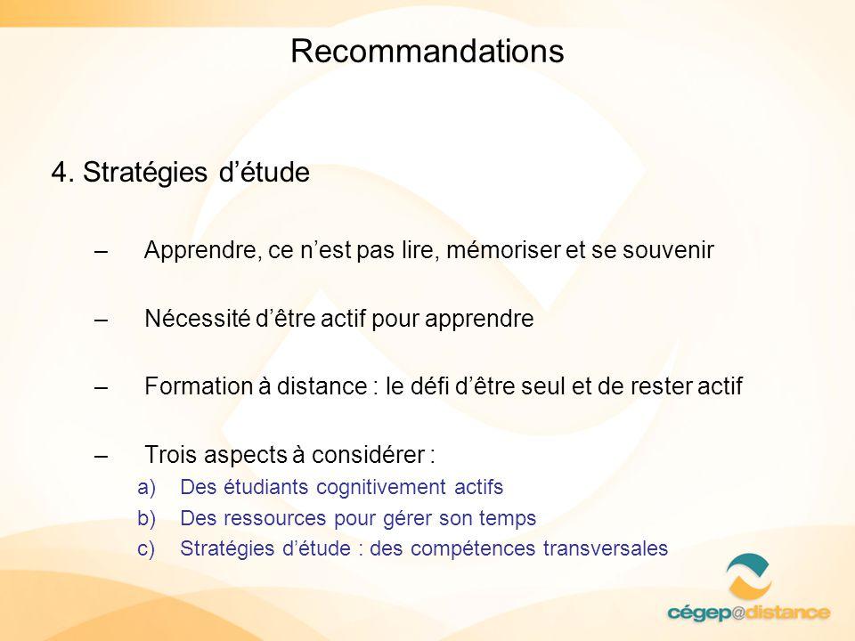 Recommandations 4. Stratégies d'étude