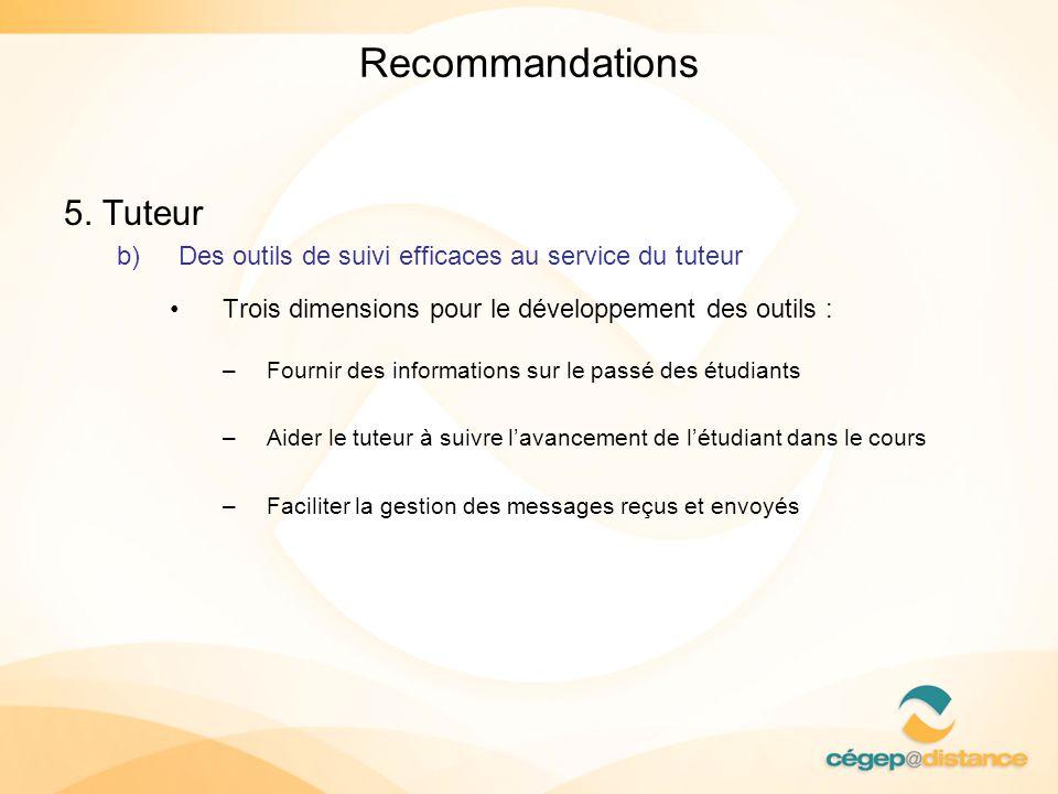 Recommandations 5. Tuteur