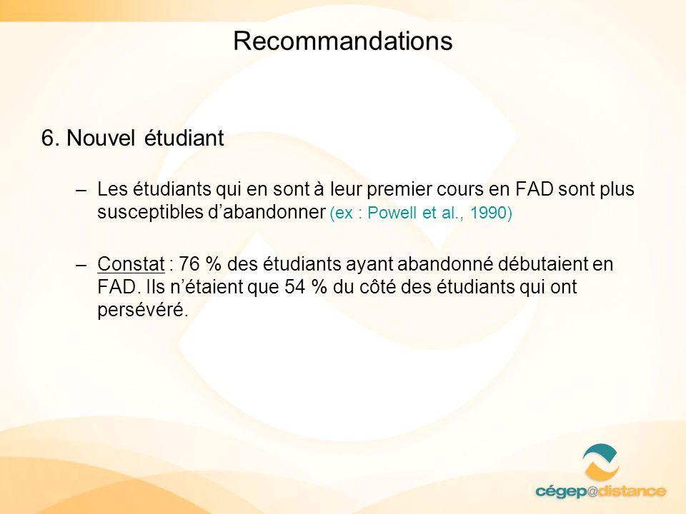 Recommandations 6. Nouvel étudiant