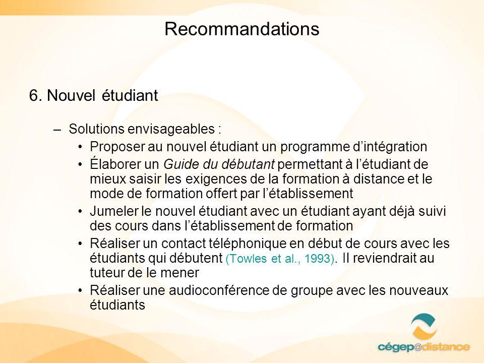 Recommandations 6. Nouvel étudiant Solutions envisageables :