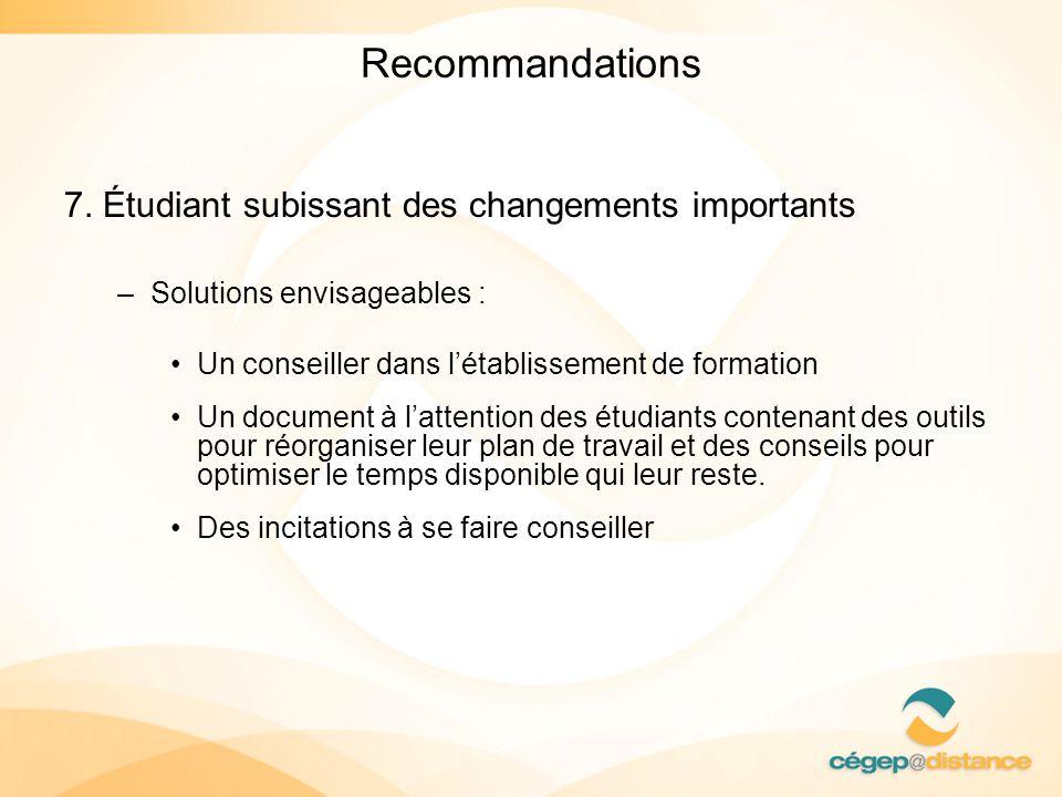 Recommandations 7. Étudiant subissant des changements importants