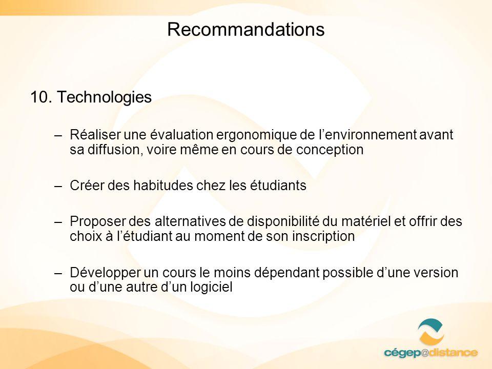 Recommandations 10. Technologies