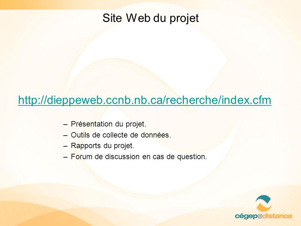 Site Web du projet http://dieppeweb.ccnb.nb.ca/recherche/index.cfm