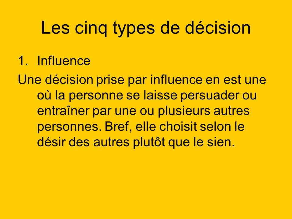 Les cinq types de décision