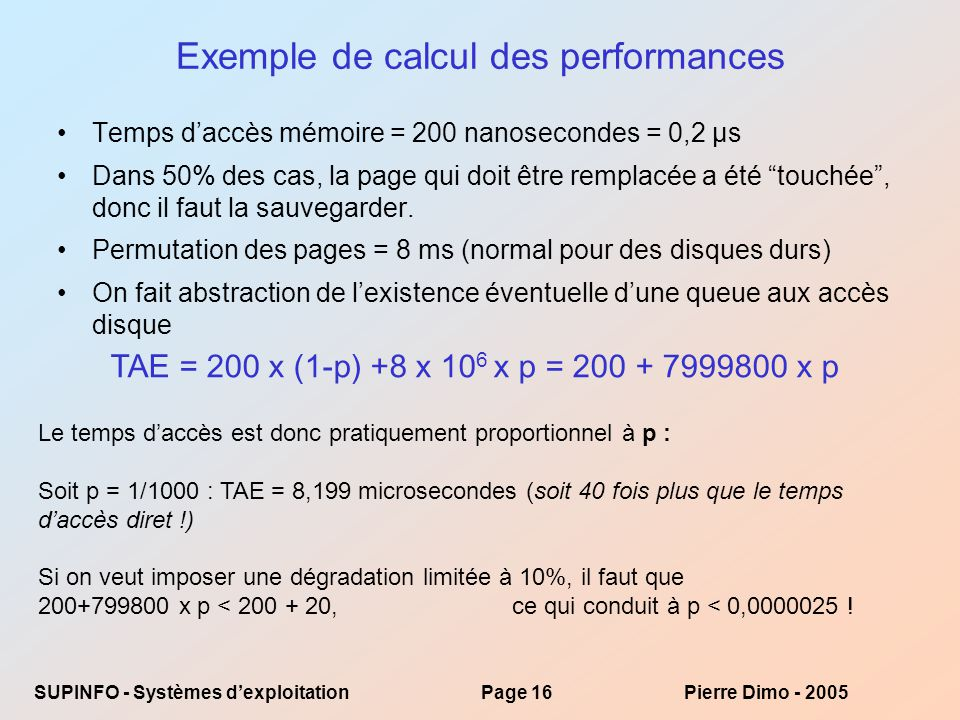 Exemple de calcul des performances