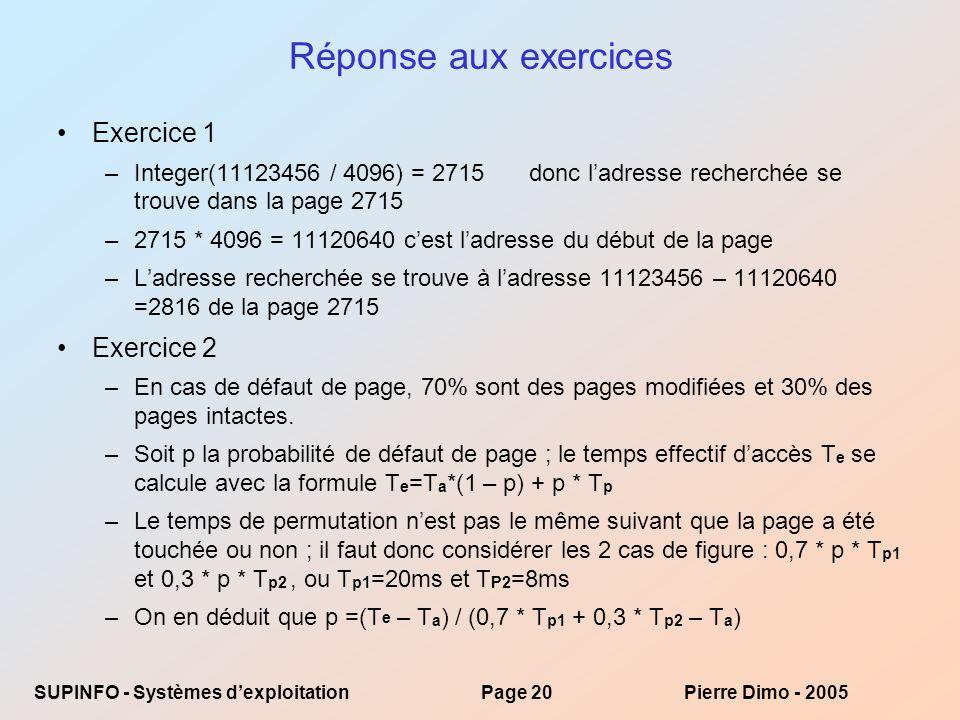 Réponse aux exercices Exercice 1 Exercice 2