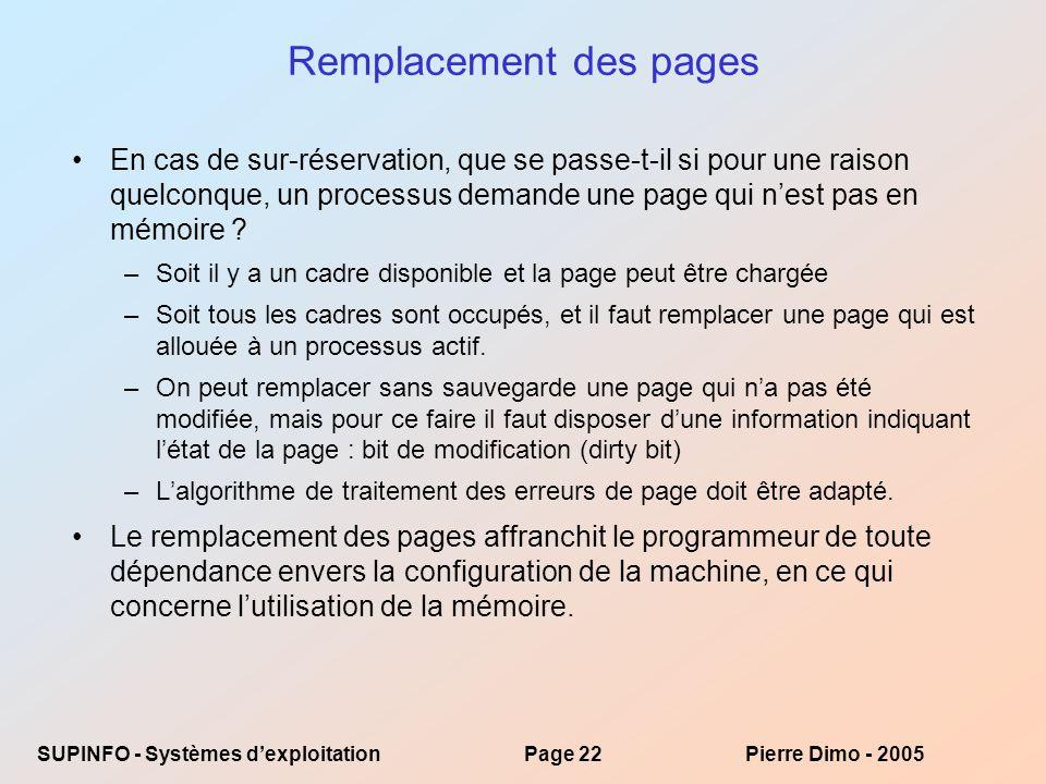 Remplacement des pages
