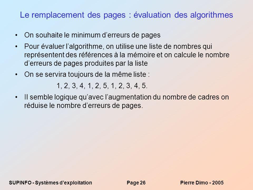 Le remplacement des pages : évaluation des algorithmes