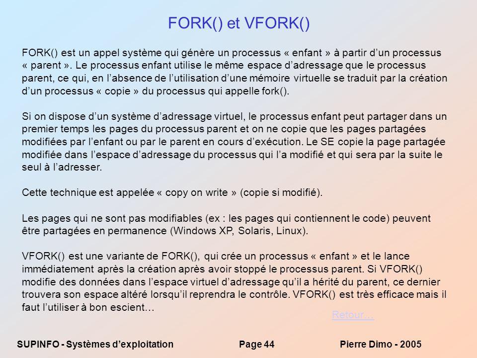 FORK() et VFORK()