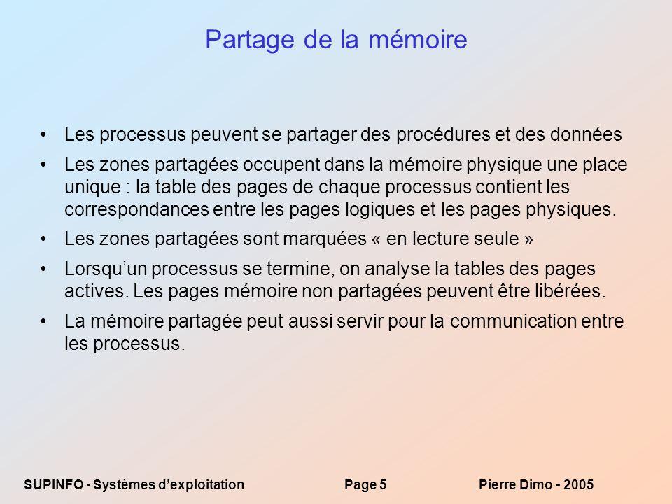Partage de la mémoire Les processus peuvent se partager des procédures et des données.