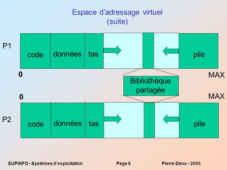 Espace d'adressage virtuel (suite)