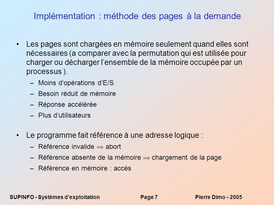 Implémentation : méthode des pages à la demande