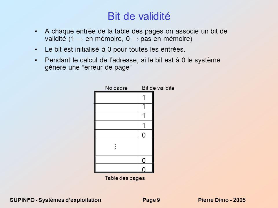 Bit de validité A chaque entrée de la table des pages on associe un bit de validité (1  en mémoire, 0  pas en mémoire)