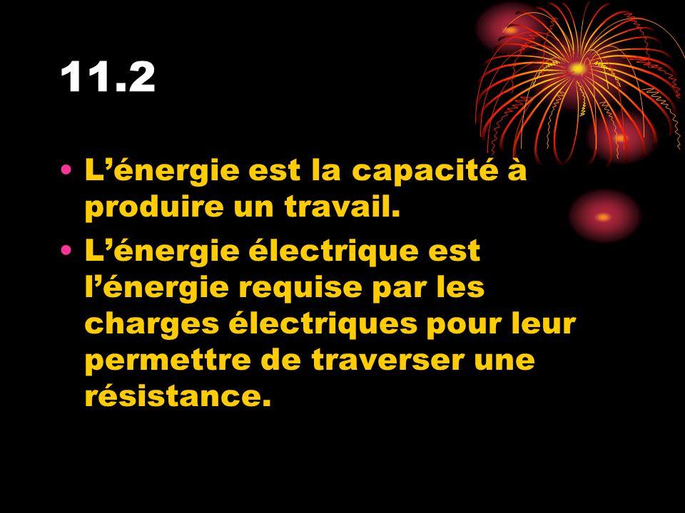 11.2 L'énergie est la capacité à produire un travail.