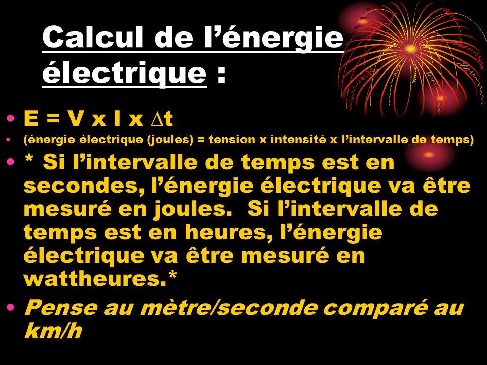 Calcul de l'énergie électrique :