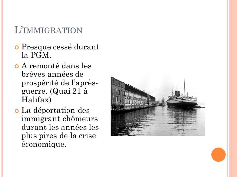L'immigration Presque cessé durant la PGM.