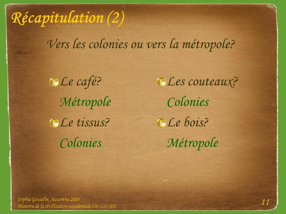 Récapitulation (2) Vers les colonies ou vers la métropole Le café