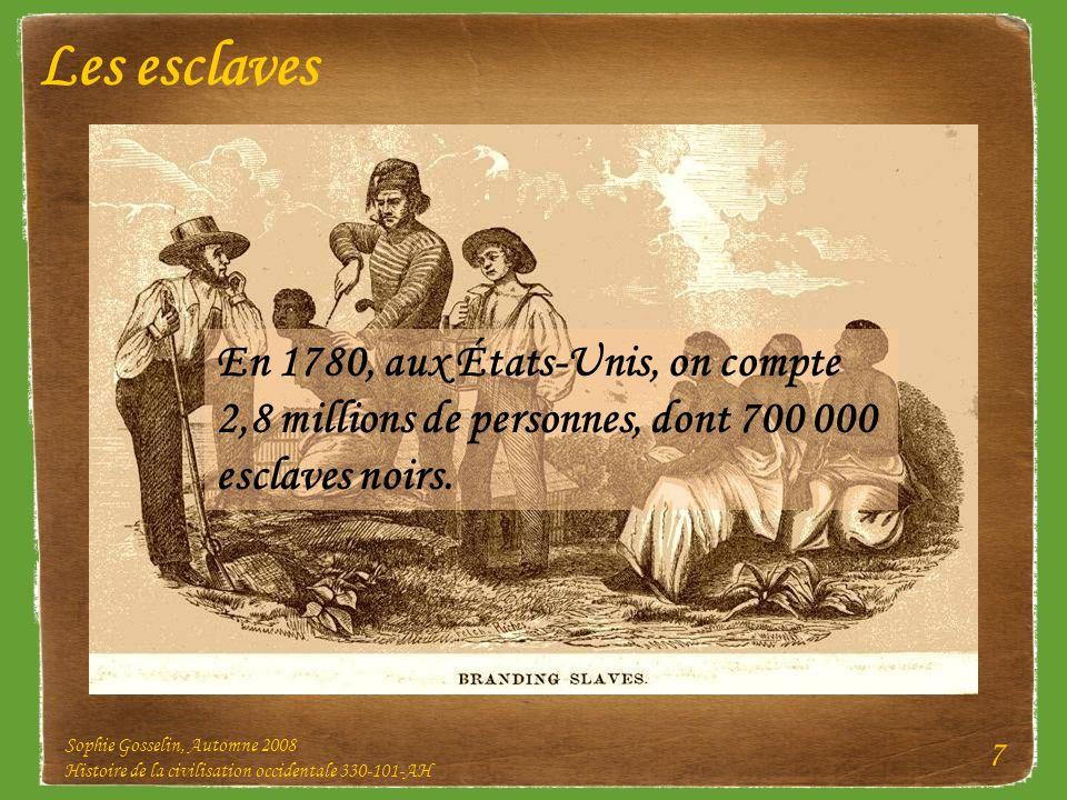 Les esclaves En 1780, aux États-Unis, on compte 2,8 millions de personnes, dont 700 000 esclaves noirs.